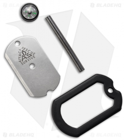 A.R.S. Dog Tag Survival Knife w/ Compass, Firestarter & Mirror